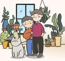 Liebespaar Transgender und Hund im Garten, Illustration. vektor