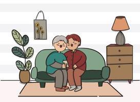 Liebespaar, das verschiedene Aktivitäten auf Sofa drinnen macht, flaches Design. vektor