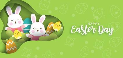 Ostertageskarte mit niedlichen Kaninchen und Ostereiern. vektor