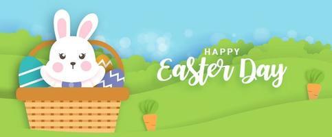 påskdag bakgrund och banner med söta kaniner och påskägg.