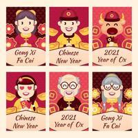 chinesische Neujahrsset-Etiketten vektor