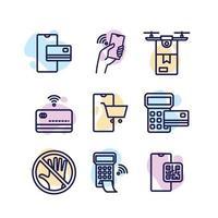 Sammlung kontaktloser Technologie-Symbole vektor
