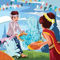 Songkran vattenstänk festival koncept