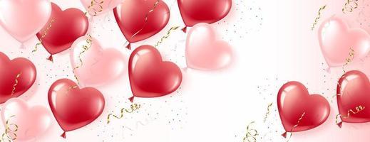 horizontales Banner aus rosa und roten herzförmigen Luftballons vektor