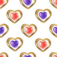 sömlösa mönster med röda lila guld hjärtan vektor