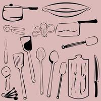 Küchenwerkzeuge niedlichen Muster Vintage Hintergrund vektor