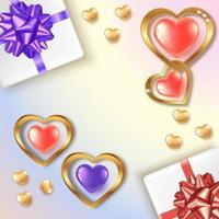Alla hjärtans dag fyrkantig banner med röda och lila guld hjärtan och gåvor vektor