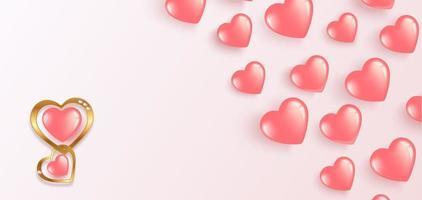 glad alla hjärtans dag. flygande gel rosa ballonger. horisontell banner med plats för text vektor