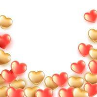 guld röda hjärta ballonger vektor
