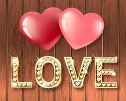 das Wort Liebe und zwei Herzen zusammen. herzförmige Buchstaben aus Weißgold mit funkelnden Diamanten. vektor