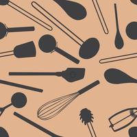 Küchenwerkzeuge Muster nahtlosen Hintergrund vektor