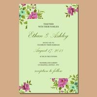 söt bröllopsinbjudan med blommönster ram vektor