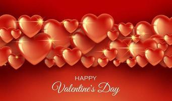 guldröda hjärtan gränsar rött banner vektor