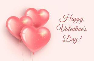 Grußkarten-Banner zum Valentinstag und zum internationalen Frauentag. drei rosa herzförmige Luftballons mit Funkeln. auf einem rosa Hintergrund. 3D realistischer Stil. vektor