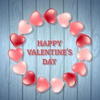 Holz Hintergrund Valentinstag mit rosa und roten Herzen vektor