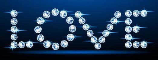 neon diamant kärlekstext vektor