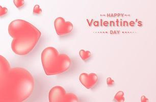 banner med flygande rosa hjärtan vektor