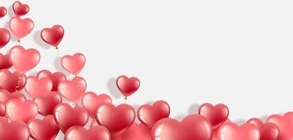 rött hjärta ballonger banner för alla hjärtans dag vektor