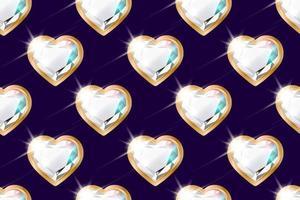 nahtloses Muster mit Diamanten in Form eines Herzens in einem goldenen Rahmen auf lila vektor