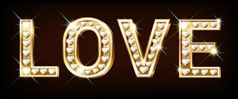 goldenes Wort Liebe mit herzförmigen funkelnden Diamanten. Valentinstag Banner. Glückwunschkarte. 3D realistischer Stil auf einem dunklen Hintergrund. Vektor. vektor