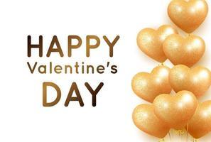 banner med gyllene hjärta ballonger för alla hjärtans dag vektor