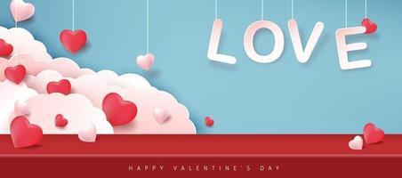 Alla hjärtans dag bakgrund med hängande kärlekstext, hjärtan och moln vektor
