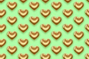 mönster av guldhjärtor på grönt vektor