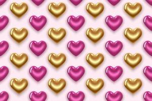 mönster med rosa och guld hjärtan vektor