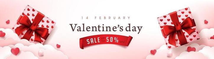 Valentinstag Verkauf Poster oder Banner Hintergrund mit Geschenkboxen und Herzen vektor