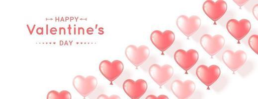 Banner mit rosa Herzen zum Valentinstag vektor