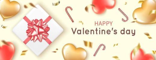 Banner mit Herzballons, Geschenk und Zuckerstangen zum Valentinstag vektor