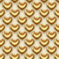 guld hjärtan mönster vektor
