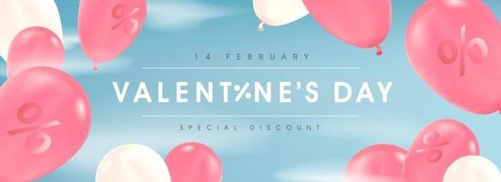 Alla hjärtans dag försäljning affisch eller banner med ballonger. vektor