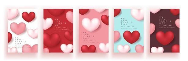 Satz Valentinstag Verkauf Poster oder Banner Hintergrund. vektor