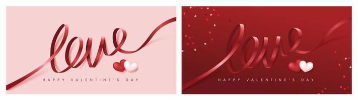 Valentinstag Banner Hintergrund mit Liebeswort Band Schriftzug vektor