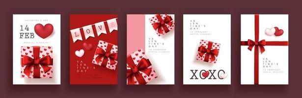Satz von Plakaten oder Bannern zum Valentinstag. vektor