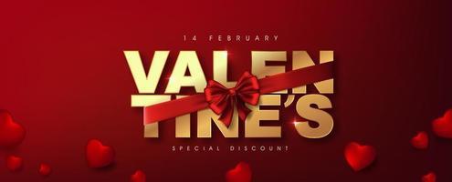 kalligraphischer goldener Valentinstagstext, eingewickelt in rote Schleife mit Herzen vektor