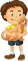 glad pojke seriefiguren kramar en söt hund vektor