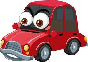 röd tecknad karaktär med veteranbil med ansiktsuttryck på vit bakgrund