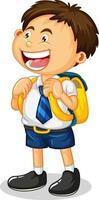 kleiner Junge Zeichentrickfigur in Studentenuniform vektor