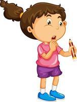glückliche Mädchenkarikaturfigur, die einen Bleistift hält