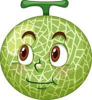 Cantaloupe Melone Zeichentrickfigur mit Gesichtsausdruck vektor