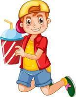 ein Junge, der Trinkbecherkarikaturfigur lokalisiert auf weißem Hintergrund hält