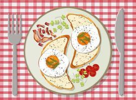 Draufsicht auf Frühstück in einem Teller gesetzt