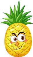 Ananas-Karikaturfigur mit glücklichem Gesichtsausdruck auf weißem Hintergrund