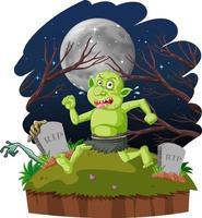 Nachtszene mit Goblin- oder Troll-Zeichentrickfigur vektor
