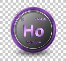holmium kemiskt element. kemisk symbol med atomnummer och atommassa.