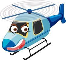 Hubschrauberkarikaturfigur mit wütendem Gesicht auf weißem Hintergrund vektor