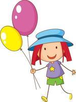 doodle hand dras med en flicka tecknad karaktär håller ballongen vektor