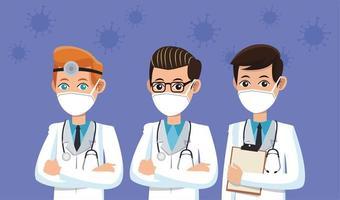 männliche Ärzte mit medizinischen Masken vektor